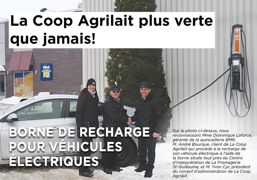 Recharge pour véhicule électrique à la Coop Agrilait