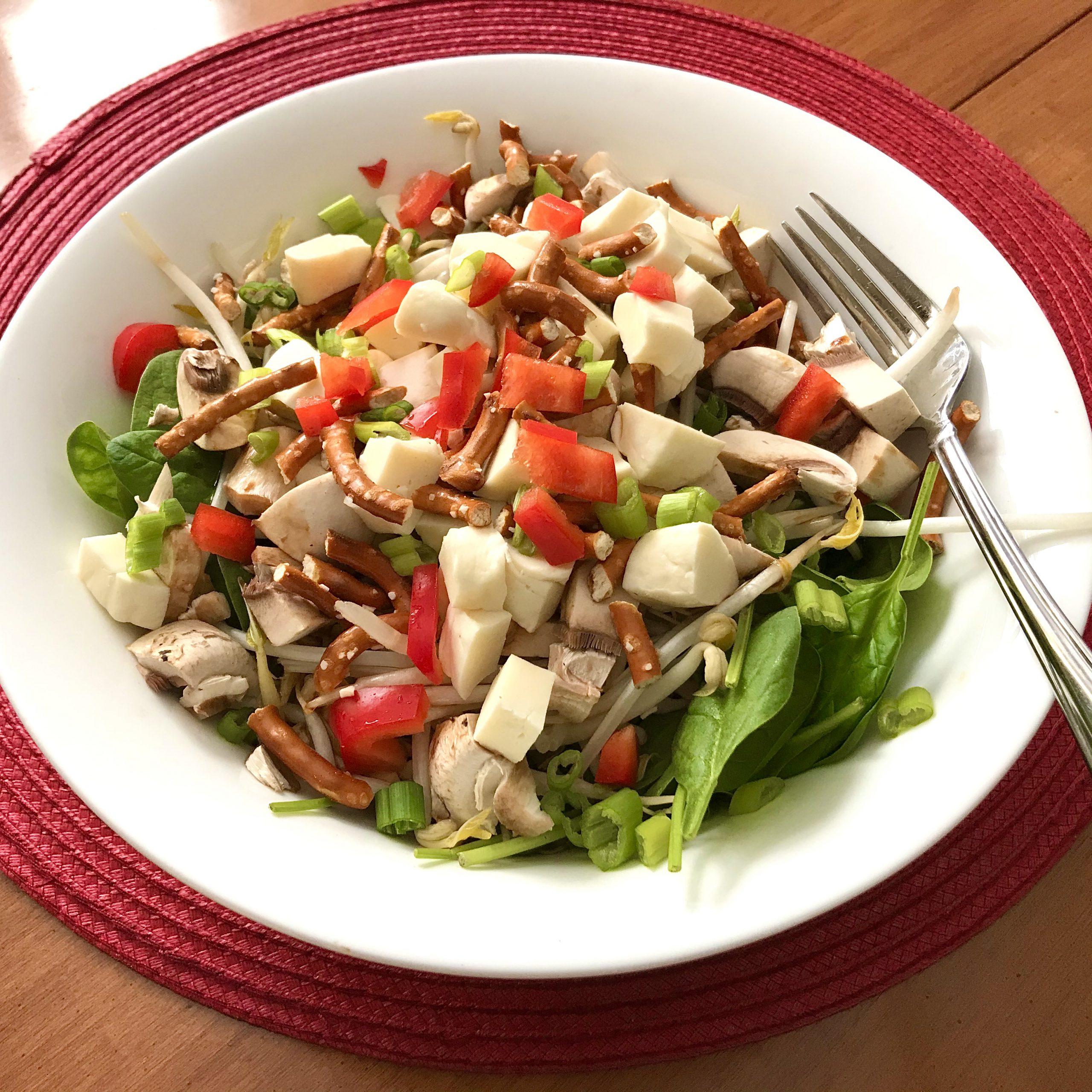 Salade amitié cheddar et bretzels