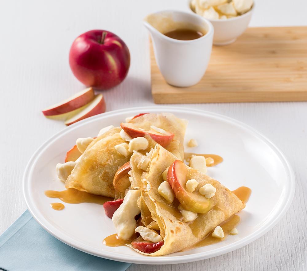 Crêpes sucrées-salées aux pommes et Le P'tit Frais